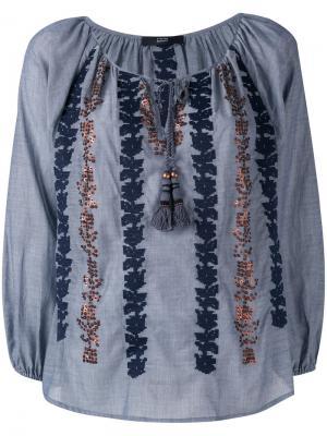 Блузка с вышивкой и отделкой пайетками Steffen Schraut. Цвет: синий