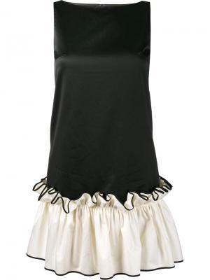 Мини-платье с рюшами на подоле Huishan Zhang. Цвет: чёрный