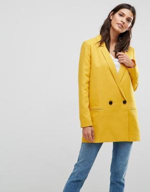 ASOS Двубортный блейзер горчичного цвета Tailored. Цвет: желтый