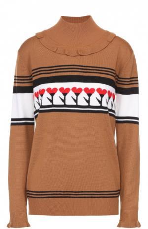 Пуловер прямого кроя с контрастным принтом Markus Lupfer. Цвет: коричневый