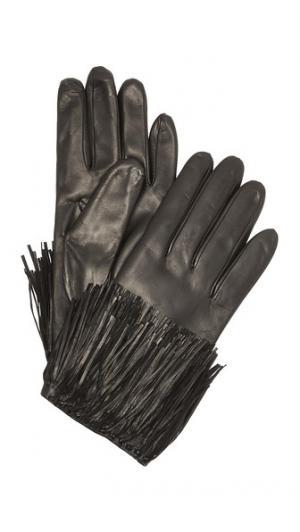 Кожаные перчатки с бахромой для использования смартфонов Diane von Furstenberg. Цвет: голубой