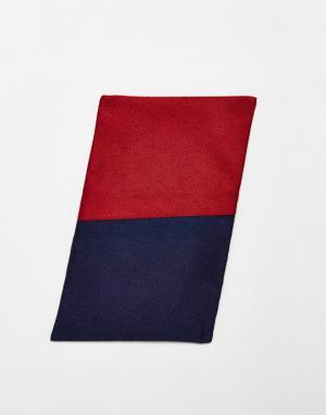 Red Eleven Двусторонний темно-синий/бордовый платок-паше. Цвет: темно-синий
