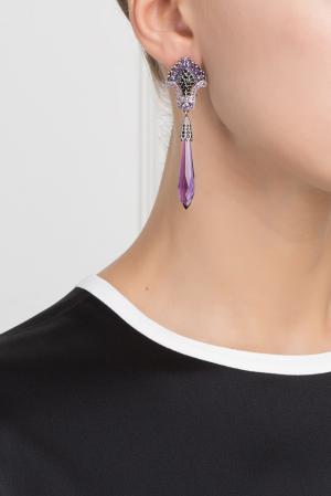 Серебряные серьги с аметистами и черной шпинелью «Кокошники» Axenoff Jewellery. Цвет: серебряный, сиреневый, черный