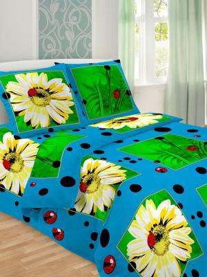 Комплект постельного белья, 1,5-сп, бязь, пододеяльник на молнии Letto. Цвет: голубой,желтый,зеленый