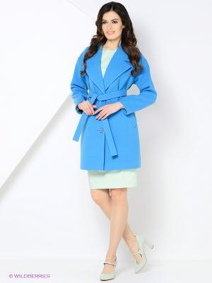 Пальто MARI VERA. Цвет: голубой
