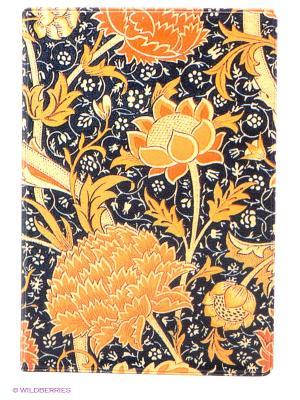 Обложка для паспорта Красные пионы Mitya Veselkov. Цвет: светло-оранжевый, антрацитовый, желтый