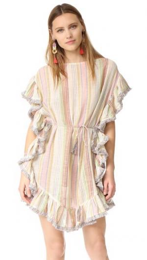 Развевающееся пляжное платье Tropical с бахромой Zimmermann. Цвет: голубой