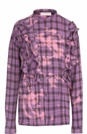 Хлопковая блуза в клетку с оборками Faith Connexion. Цвет: фиолетовый