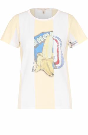 Хлопковая футболка в полоску с принтом Marc Jacobs. Цвет: кремовый
