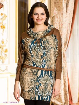Платье-туника МадаМ Т. Цвет: светло-коричневый, синий, терракотовый