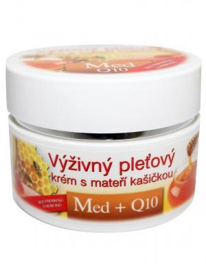 Питательный крем для кожи с маточным молочком Мед + Q10 51 мл BioBione. Цвет: белый