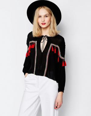 Piper Oversize-блузка с красными кисточками Bacoor. Цвет: черный