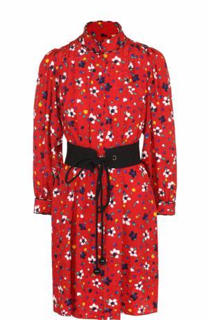 Шелковое мини-платье с принтом и поясом Marc Jacobs. Цвет: красный