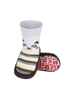Тапочки-носочки детские SOXO. Цвет: темно-коричневый, бежевый, светло-желтый, белый