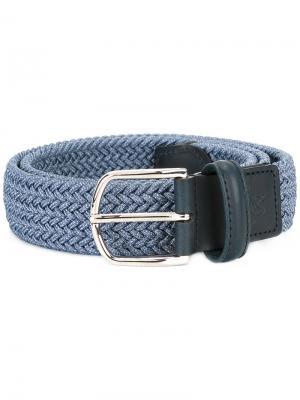 Эластичный плетеный ремень Canali. Цвет: синий