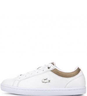 Белые кожаные кеды с втачной стелькой Lacoste. Цвет: белый