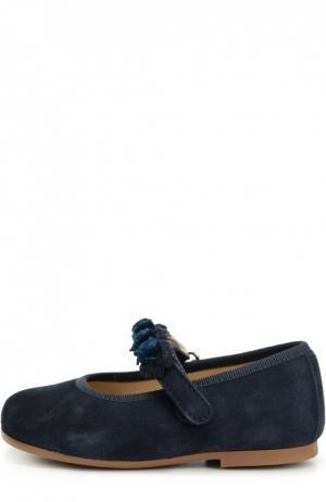 Замшевые туфли с цветочной аппликацией Clarys. Цвет: синий