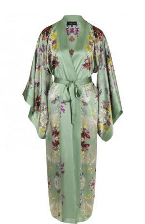 Шелковый халат с принтом и поясом Meng. Цвет: зеленый