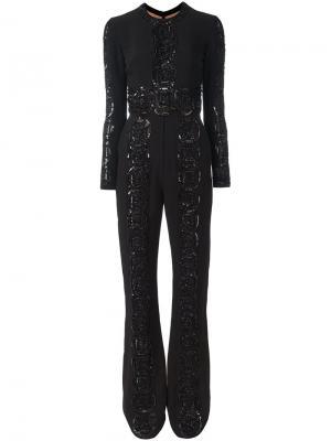 Комбинезон с блестящей вышивкой Elie Saab. Цвет: чёрный