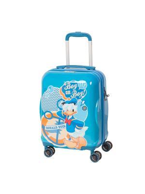 Детский чемодан, 4 колеса, серия Disney Donald Duck, 28 л, с телескопической ручкой Sun Voyage. Цвет: синий, голубой
