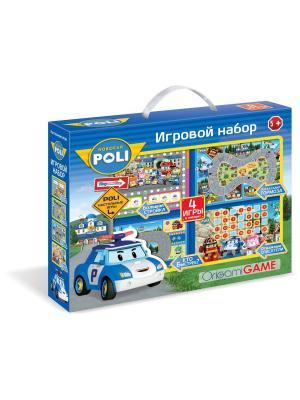 Игровой набор Робокар Поли. 4 настольные игры + пазл в подарок, коробка с ручкой. Robocar Poli. Цвет: белый, красный, синий