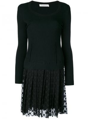 Плиссированное платье с кружевной юбкой Philosophy Di Lorenzo Serafini. Цвет: чёрный