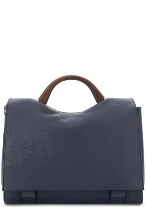 Синяя кожаная сумка с короткой ручкой Gironacci. Цвет: синий