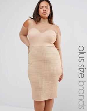 Club L Платье в бандажном стиле с сетчатыми вставками и открытыми плечами Clu. Цвет: бежевый