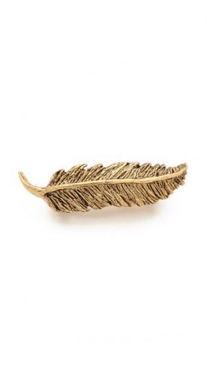 Небольшая заколка в виде пера PLUIE. Цвет: коричневый
