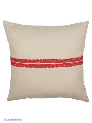 Подушка с кружевом Торжество  45х45 см серая T&I. Цвет: бежевый, красный