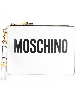 Клатч с принтом логотипа Moschino. Цвет: белый