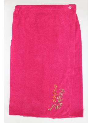 Килт махровый с вышивкой женский (80*150) GrandStyle. Цвет: малиновый