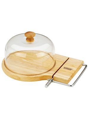Доска для сыра с ножом Vitesse. Цвет: коричневый, прозрачный