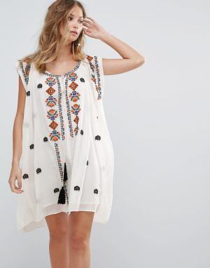 Deby Debo Платье с вышивкой Sally. Цвет: белый