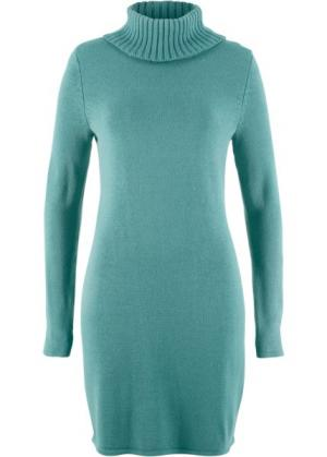 Вязаное платье с длинным рукавом и высоким воротником (минерально-синий) bonprix. Цвет: минерально-синий