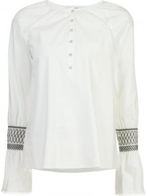 Рубашка с вышивкой на рукавах Derek Lam 10 Crosby. Цвет: белый