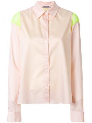 Приталенная рубашка с контрастной вставкой Opening Ceremony. Цвет: розовый и фиолетовый