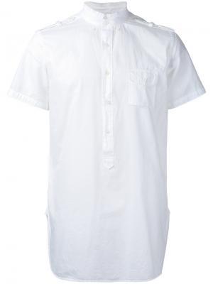 Рубашка с короткими рукавами в стиле милитари Wooster + Lardini. Цвет: белый