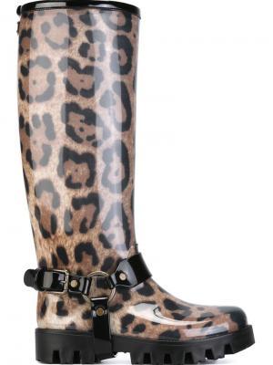 Резиновые сапоги с леопардовым принтом Dolce & Gabbana. Цвет: телесный