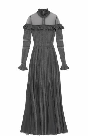 Плиссированное платье-макси с декоративной отделкой Elie Saab. Цвет: серый