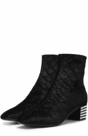 Текстильные ботильоны на декорированном каблуке Giuseppe Zanotti Design. Цвет: черный