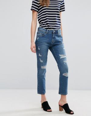 Waven Узкие рваные джинсы бойфренда Erika. Цвет: синий