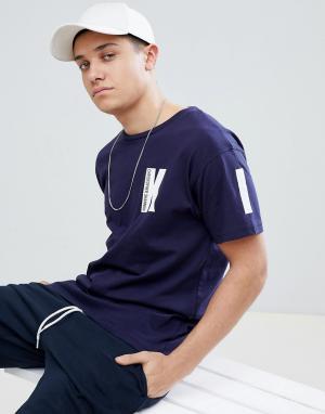 Christopher Shannon Темно-синяя футболка Kidda By K. Цвет: темно-синий