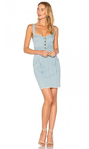 Джинсовое платье со вставками NICHOLAS. Цвет: синий