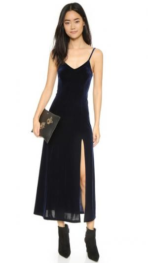 Длинное платье-комбинация из вельвета Only Hearts. Цвет: темно-синий