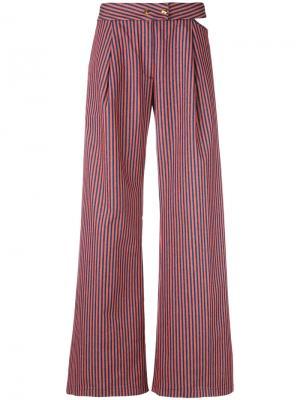 Расклешенные полосатые брюки Cycle. Цвет: жёлтый и оранжевый