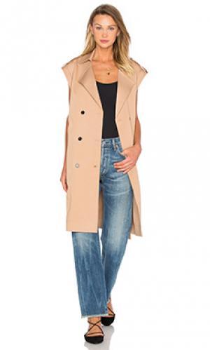 Пальто без рукавов Lucca Couture. Цвет: цвет загара