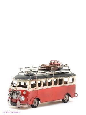 Модель Ретро Автобус с фоторамкой  4х7см PLATINUM quality. Цвет: красный
