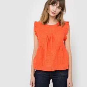 Рубашка без рукавов в клетку добби с воланами La Redoute Collections. Цвет: белый,оранжевый,синий