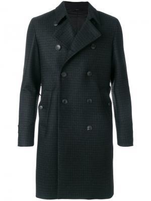 Классическое двубортное пальто Hevo. Цвет: синий